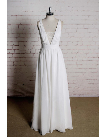 Plunging V-neckline Chiffon Wedding Dresses with Sexy Exposed Back