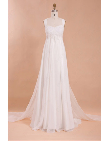 Graceful Beaded Appliques Empire Pleated Chiffon Wedding Dresses