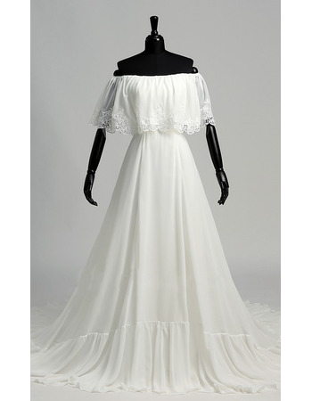 Winsome A-line Chiffon Summer Wedding Dresses with Appliques Capelet