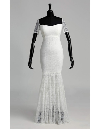 Clean and Modern Mermaid Lace Wedding Dresses with Short Sleeves and Illusion Bottom