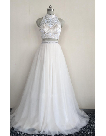 Exquisite High Neckline Two-piece Wedding Dresses with Beading Embellished Bodice and Tulle Skirt