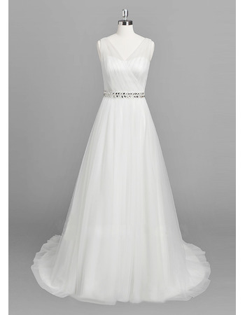 Discount Double V-Neck Tulle Wedding Dresses with Crystal Beaded Waist
