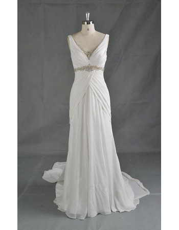 Delicate Crystal Beaded Neckline and Waist Chiffon Wedding Dresses with Long Train