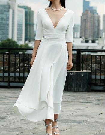 Affordable Simple V-neck Short Summer Wedding Dresses with Half Sleeves
