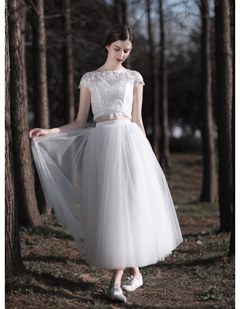 Pretty Two-piece Short Summer Lace and Tulle Wedding Dresses with Cap Sleeves