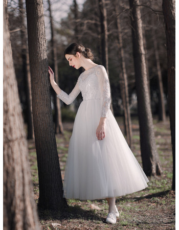 Graceful Sequined Lace Applique Short Summer Tulle Wedding Dresses with Three-quarter Sleeves
