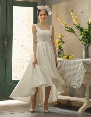 Modern High Low Asymmetrical Hem Pleated Satin Wedding Dresses with Plunging V-back