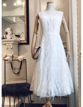 Pretty Tea-Length Summer Beach Lace Wedding Dresses with Feather Skirt