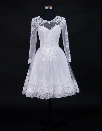 Beautiful Beading Appliques Knee Length Tulle Wedding Dresses with Long Illusion Sleeves