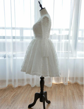 Simple Knee Length Lace Summer Wedding Dresses with Long Sleeves