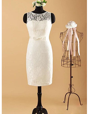 Simple Column Knee Length Lace Wedding Dresses with Illusion Back