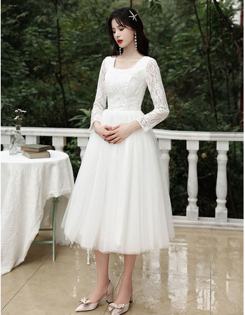 Ethereal Beaded Square Neckline Tea Length Wedding Dresses with Long Sleeves
