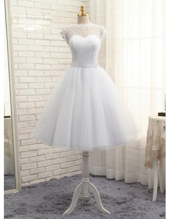Pretty Crystal Illusion Neckline Tea Length Tulle Wedding Dresses