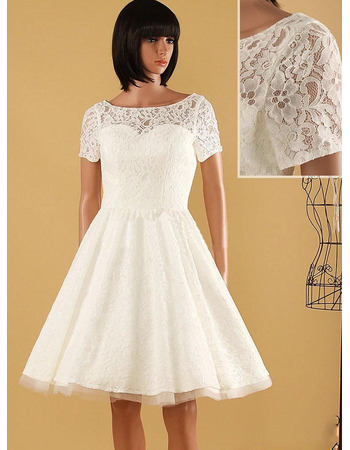 Simple V-back Knee Length Lace Wedding Dresses with Short Sleeves