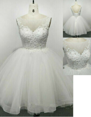 Beautiful Ball Gown Knee Length Tulle Wedding Dresses with Beading Appliques Bodiece