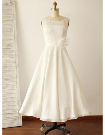 Affordable Tea Length Chiffon Wedding Dresses with Feather at Waist