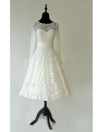 Elegant Low V-back Tea-Lenght Lace Wedding Dresses with Long Sleeves