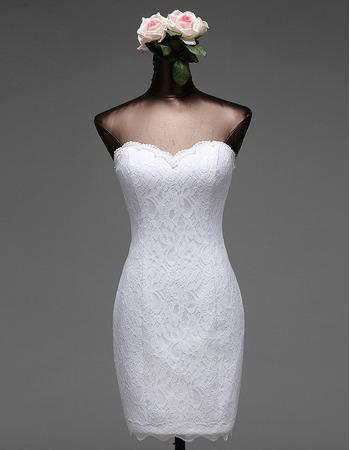 Simple Column Mini Summer Lace Wedding Dresses