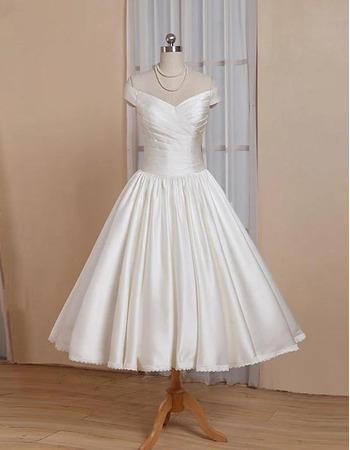Simple Ball Gown Tea-length Summer Pleated Satin Wedding Dresses
