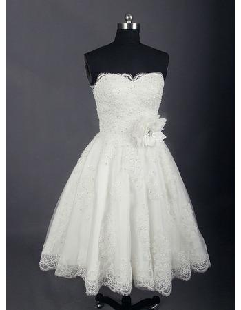 Perfect Beaded Appliques A-line Tea-length Wedding Dresses with Handmade Flowers