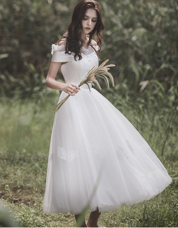 Graceful Ruffled Off-The-Shoulder Tea-length Tulle Wedding Dresses