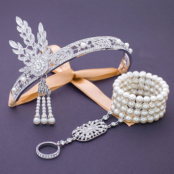 Delicate Gorgeous Crystal Pearl Wedding Jewelry Hair Accessory/ Bridal Headband Bracelet Set