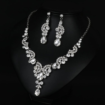 Delicate Twinkling Crystal Necklace and Earrings Set