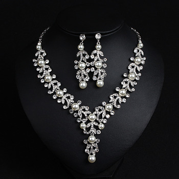 Vintage Crystal Pearl Silver Necklace and Earrings Set