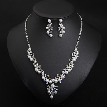 Elegant Classy Alloy with Crystal Pearl Silver Leaf-inspired Necklace and Earrings Set