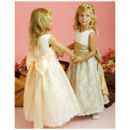 A-line Round Ankle-length Satin Lace Flower Girl Dresses for Wedding