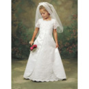 Discount A-Line Bateau Lace Flower Girl Dresses/ Cute Full Length Short Sleeves First Communion Dresses