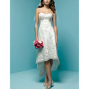 Affordable Casual Sheath Sweetheart Petite High Low Lace Wedding Dress
