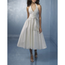 Attractive Elegant A-line Beaded V-neck Tea Length Taffeta Wedding Dress