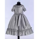 Affordable Scoop Ankle-length Taffeta Ruffled Flower Girl Dresses