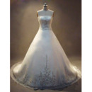 A-Line Strapless Court Train Organza Over Satin Wedding Dress with Beading Embroidered Detail