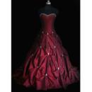 Luxury Ball Gown Sweetheart Court Train Taffeta Beading Wedding Dresses