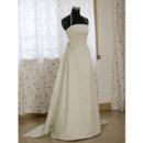 Classic A-Line Shoulder Strap/ Court train Satin Organza Wedding Dress