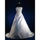 Attractive A-Line Strapless Court Satin Wedding Dresses with Beaded Bodice
