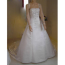 A-Line Beaded Appliques Court Train Plus Size Satin Wedding Dresses with Long Sleeves