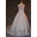 Classic A-Line Strapless Court train Satin Colored Embroider Wedding Dresses