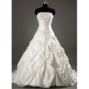 Glamorous Strapless Pick-up Court train Beadings Taffeta Wedding Dresses