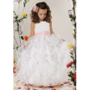 Discount Ball Gown First Communion Dresses with Layered Skirt/ Cute Full Length Organza Flower Girl Dresses with Sash