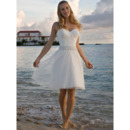 Inexpensive A-Line Sweetheart Knee Length Beach Short Tulle Wedding Dresses