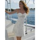 Column Beading Appliques Spaghetti Straps Short Beach/ Summer Sweetheart Wedding Dresses