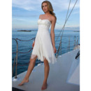 Simple A-Line Strapless Chiffon Short/ Mini Beach Empire Wedding Dress