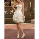 Sexy Ball Gown Sweetheart Mini Organza Summer Wedding Dresses with Pic-up Skirt
