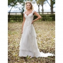 Victorian Princess Sweetheart Cap Sleeves Chapel Satin Wedding Dresses
