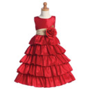 A-line Ankle Length Layered Little Girls Dresses with Floral Sash