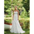 Modern Delicate Sheath Beaded Sweetheart Floor Length Lace Appliques Bridal Wedding Dresses