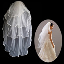 4 Layers Tulle Wedding Veil with Ribbon